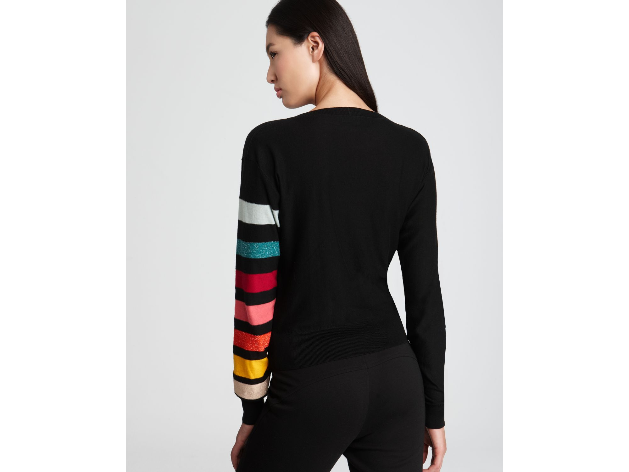 3573289f44 Sonia Rykiel Sonia Rykiel Sweater Rainbow Stripe Sleeve in Black - Lyst