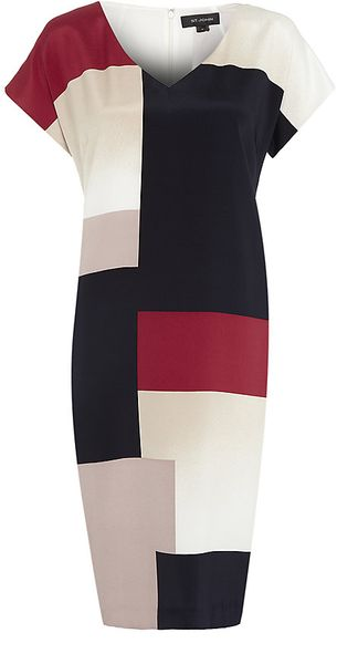 St. John Colour Block Shift Dress - Lyst