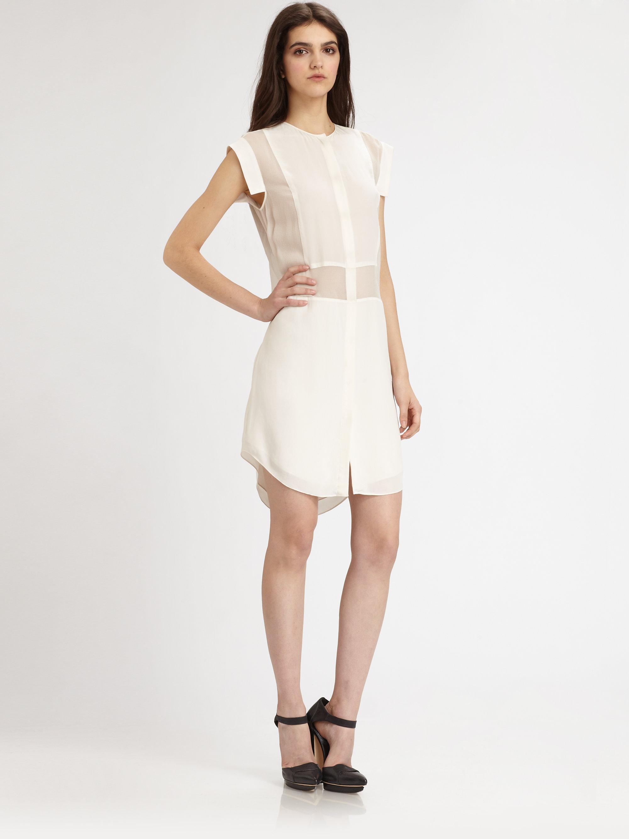 3cd2ecf47fa97 Lyst - T By Alexander Wang Semisheer Silk Shirt dress in White