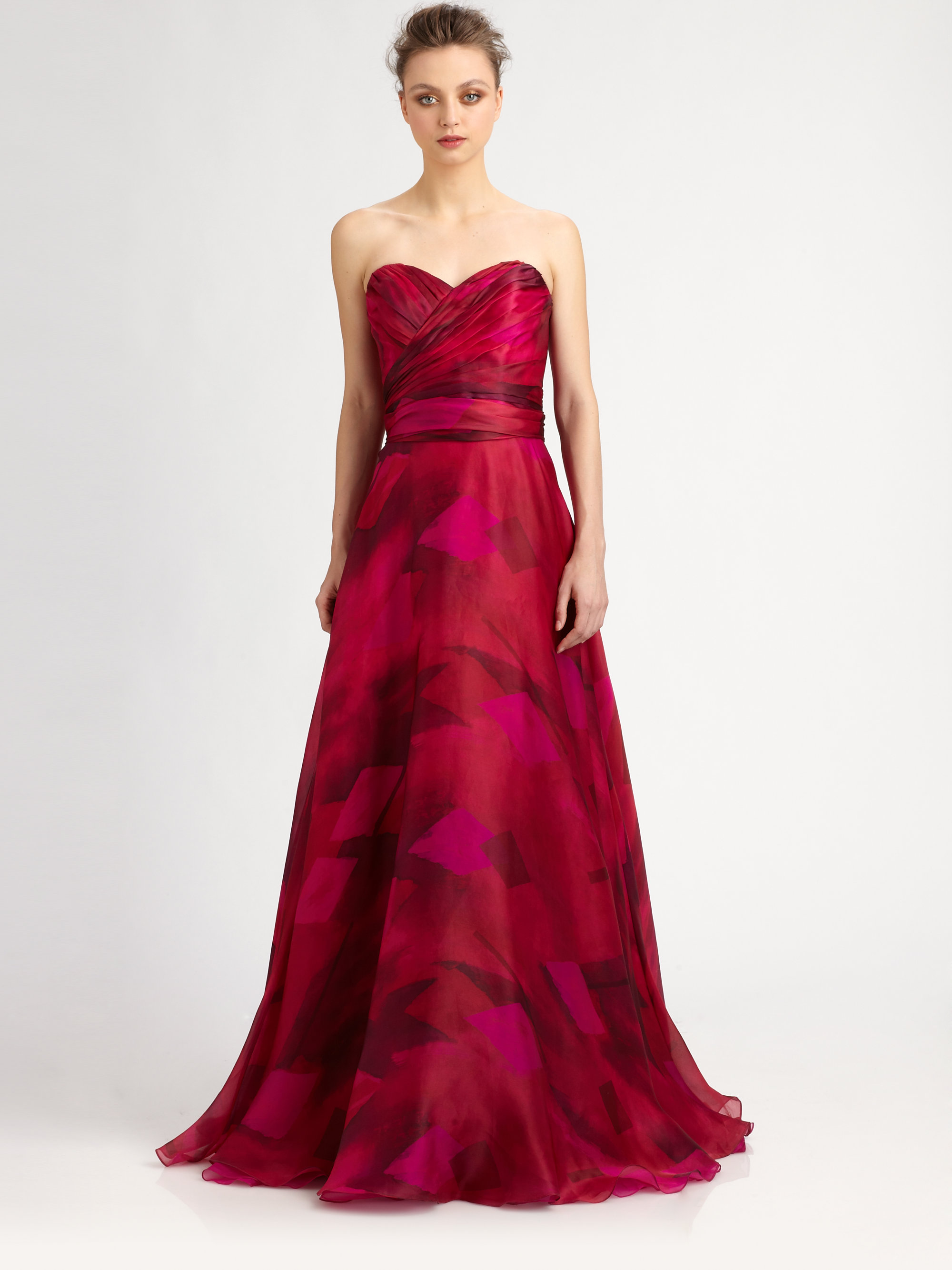 84b027ea5033 Lyst - THEIA Strapless Silk Organza Ball Gown in Red
