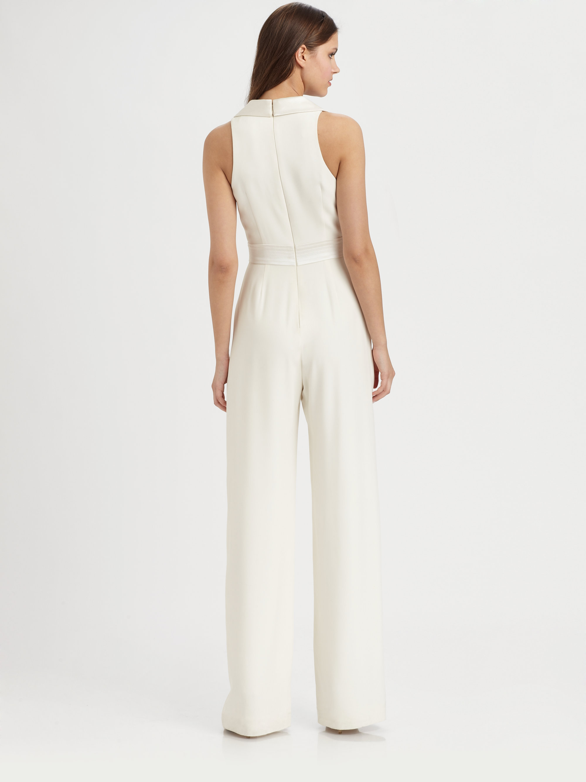 Theia Sleeveless Silk Jumpsuit in White | Lyst