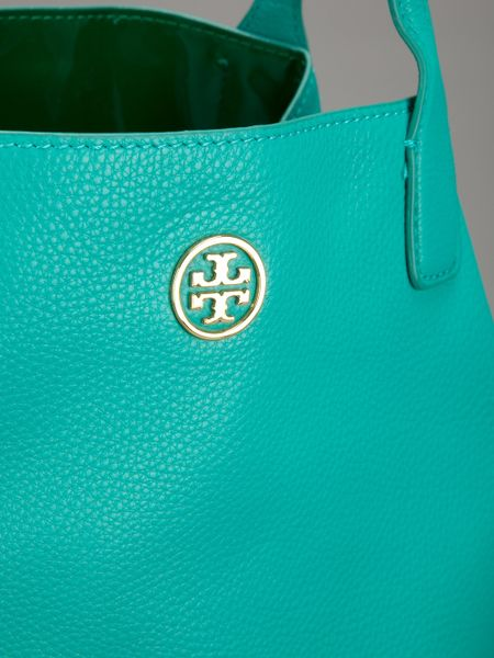 Tory Burch Brand Embossed Tote Bag In Blue Turquoise Lyst