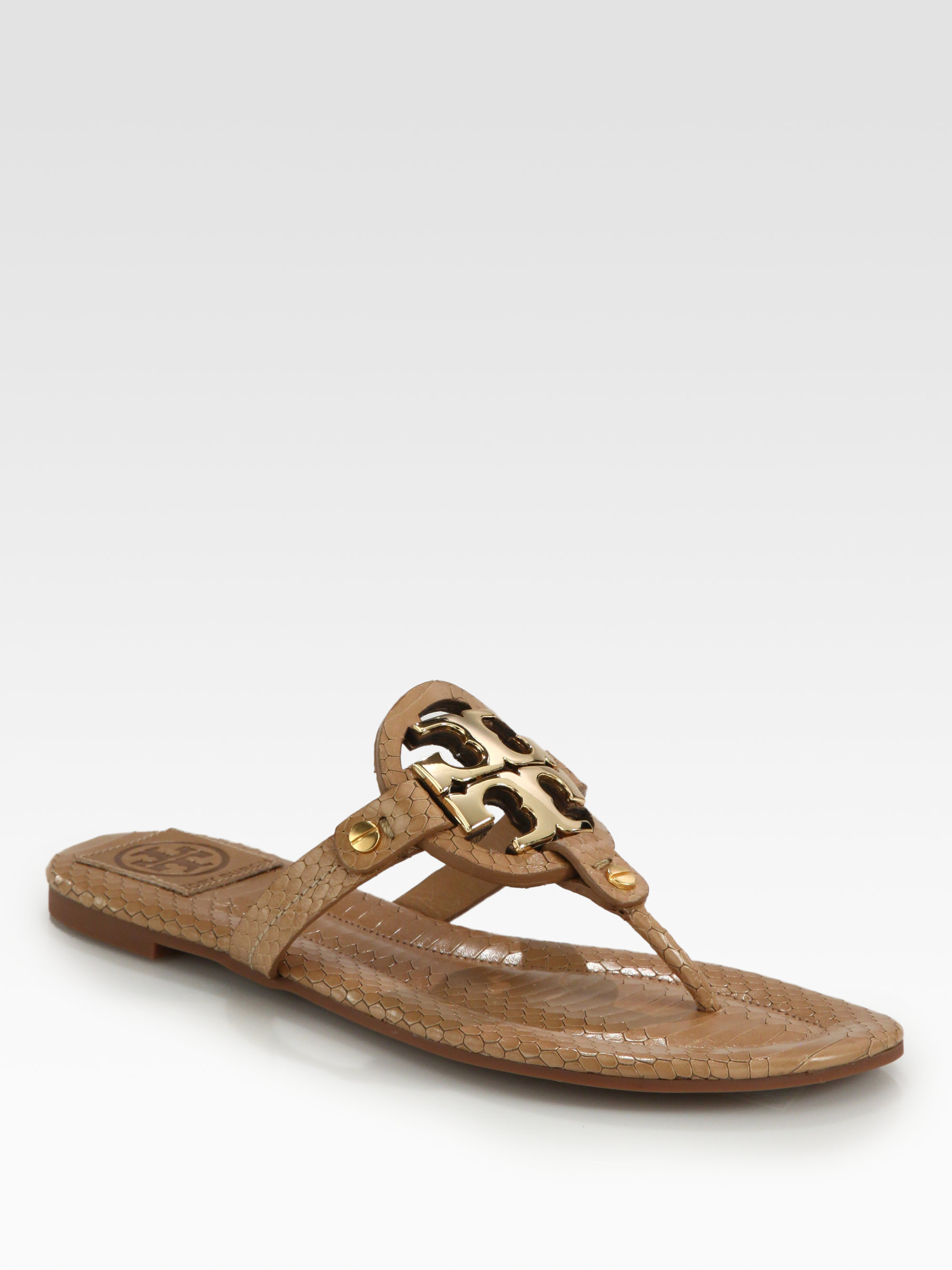 e6b0386612dbb6 Lyst - Tory Burch Miller Snakeprint Leather Thong Sandals in Brown