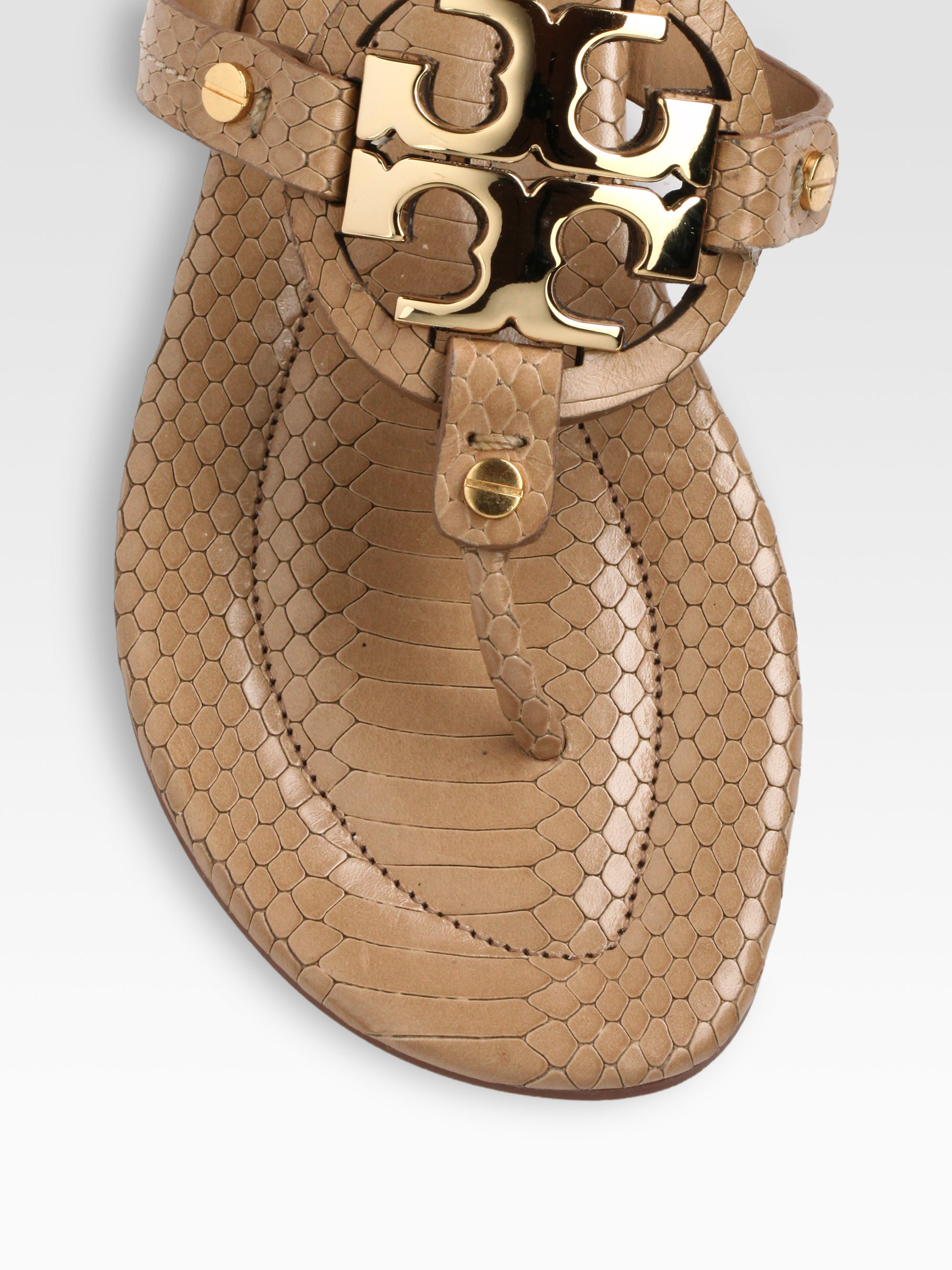 812c02d97e8a Lyst - Tory Burch Miller Snakeprint Leather Thong Sandals in Brown