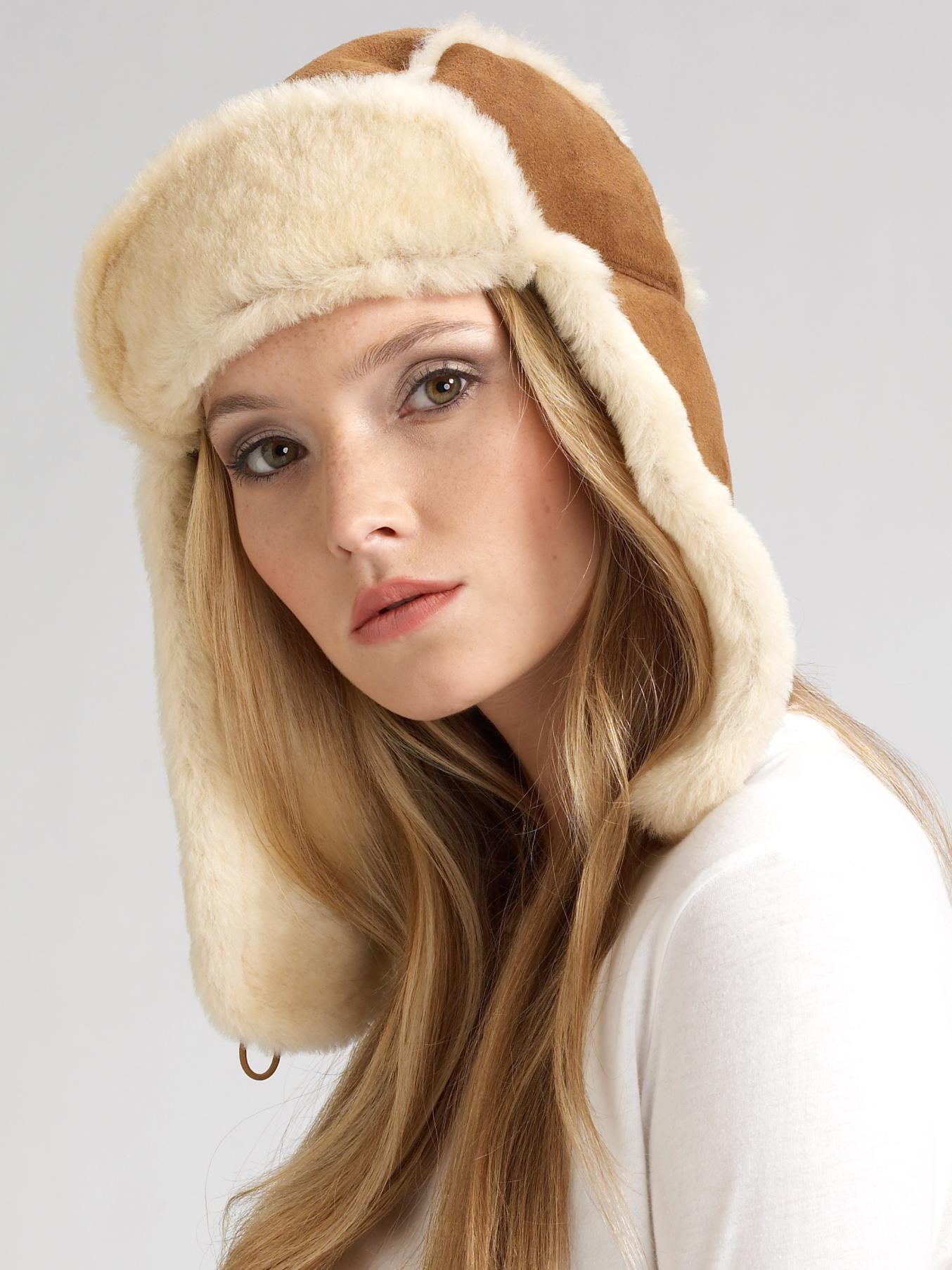 24f841bc43b7c UGG Bailey Aviator Hat in Brown - Lyst