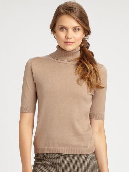 Weekend By Maxmara Silk Cotton Short Sleeve Turtleneck In