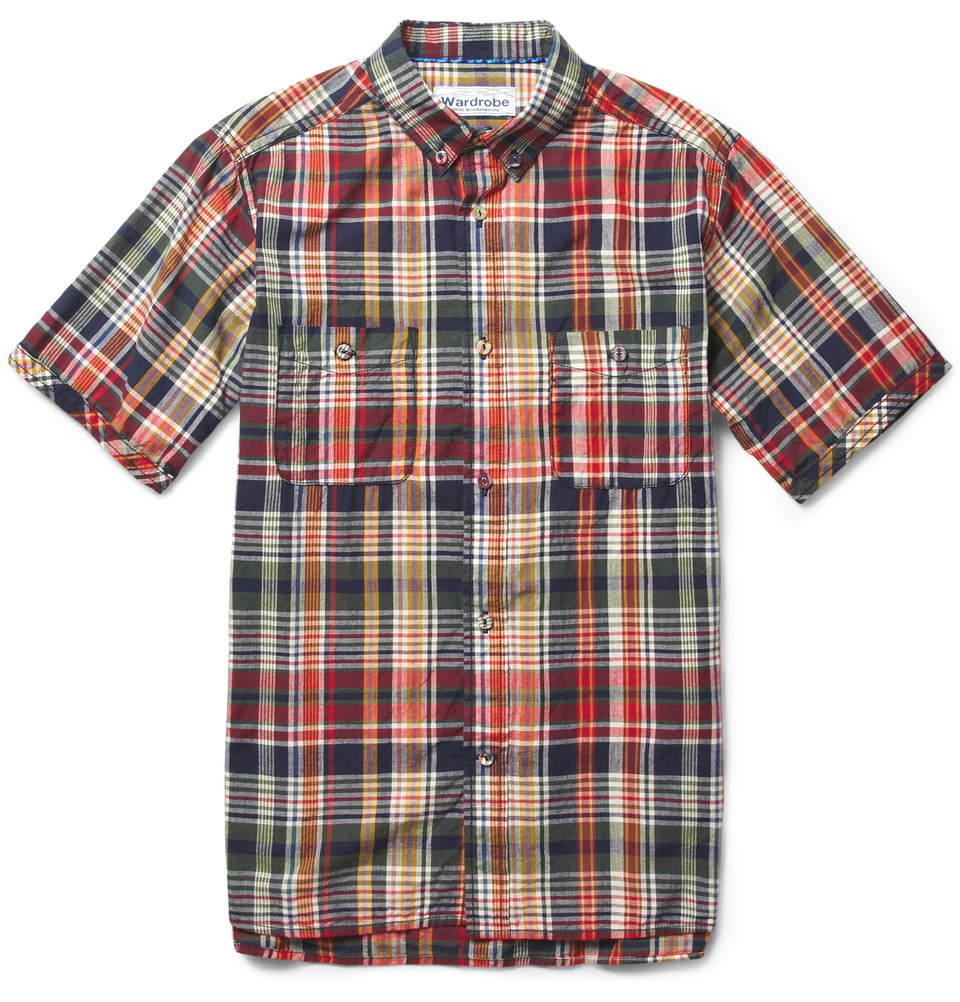 White mountaineering short sleeved madras check cotton for Mens madras shirt sale