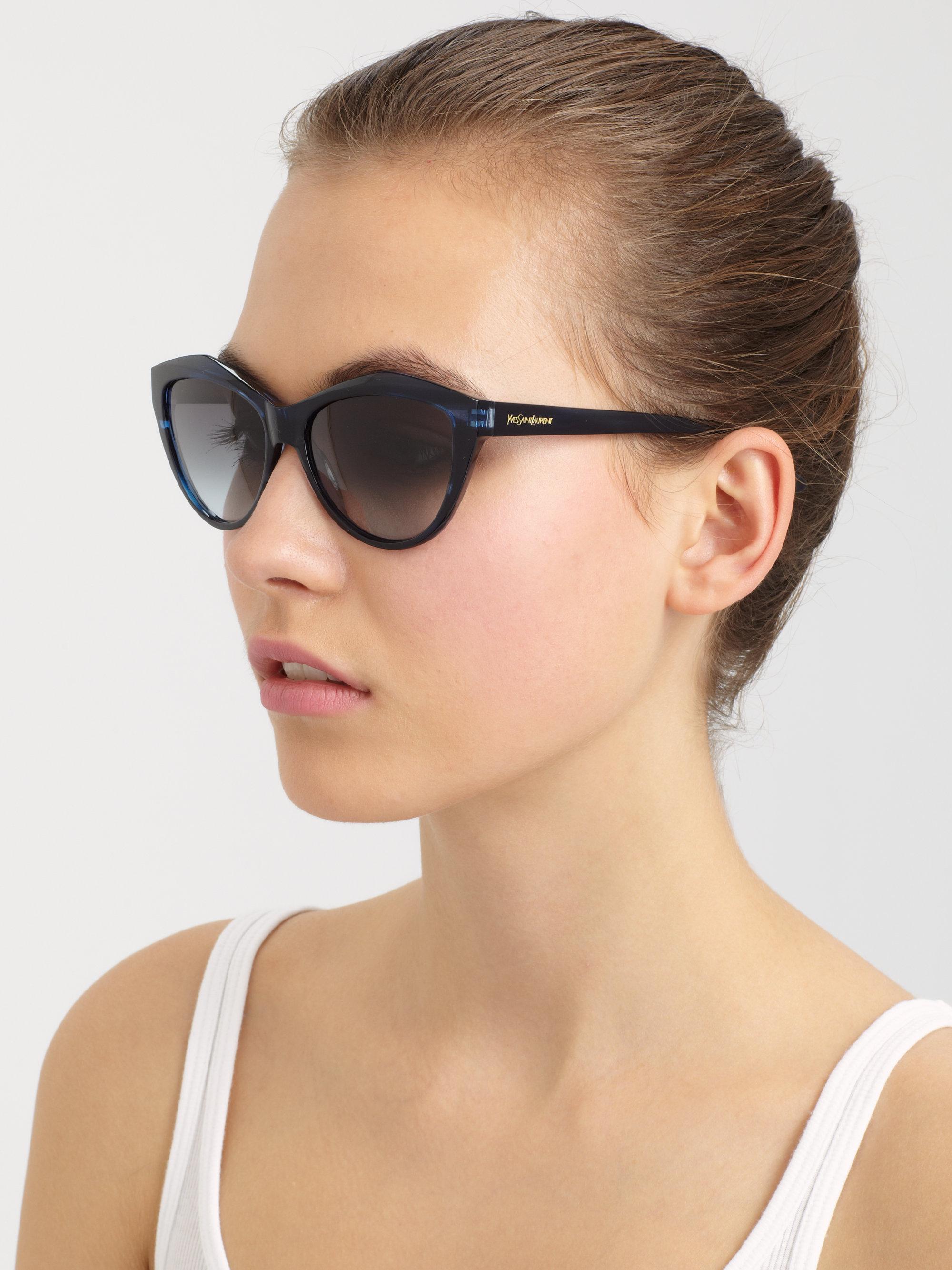 51f2b1f47a Saint Laurent Cat s Eye Acetate Sunglasses in Blue - Lyst