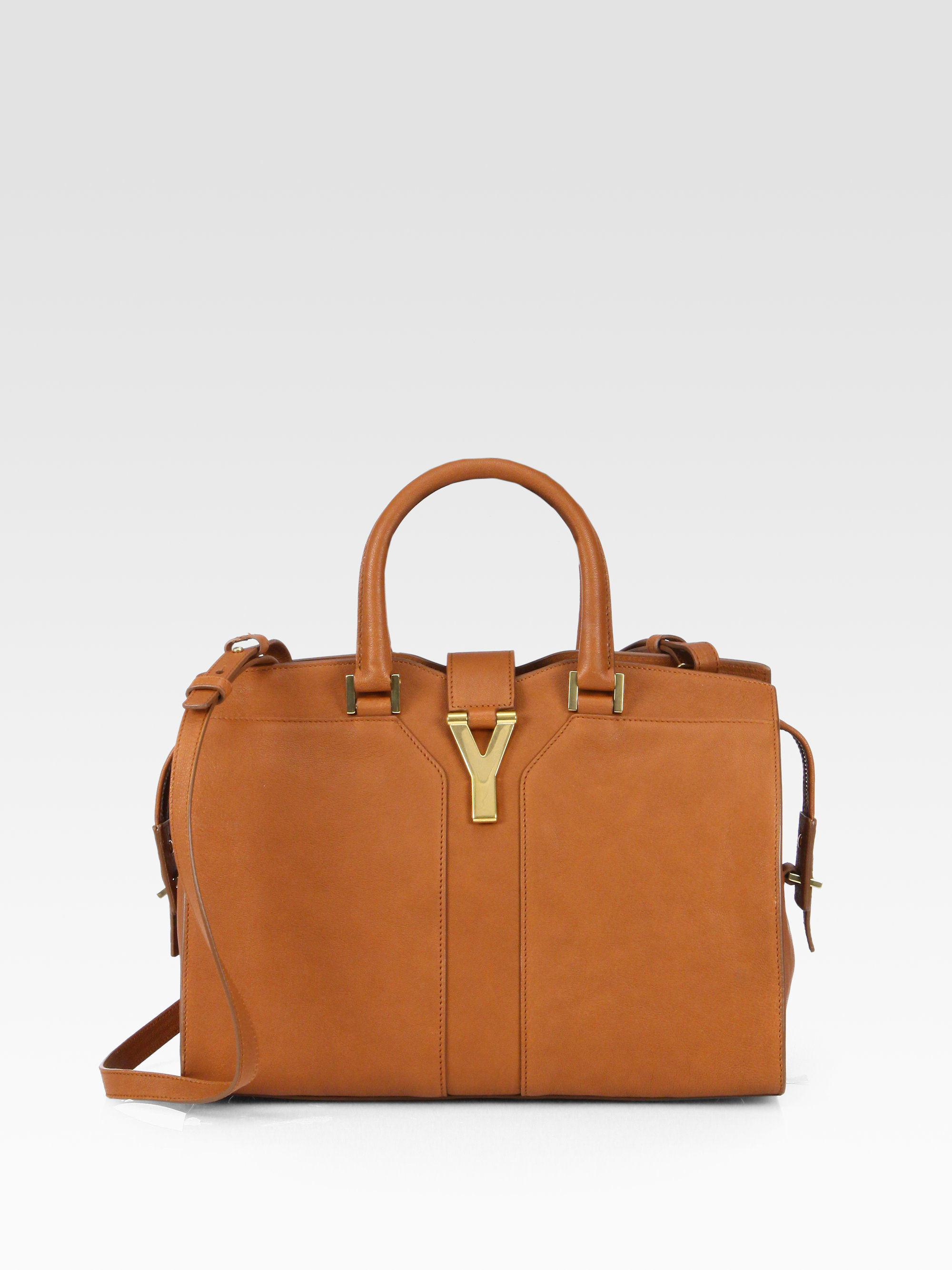 969ad9bb15fb Lyst - Saint Laurent Ysl Petite Cabas Top Handle Bag in Brown
