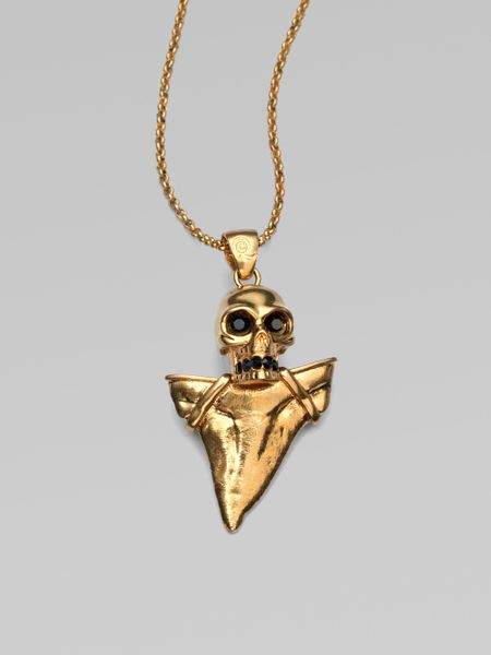 Alexander Mcqueen Skull Shark Tooth Pendant Necklace in Gold