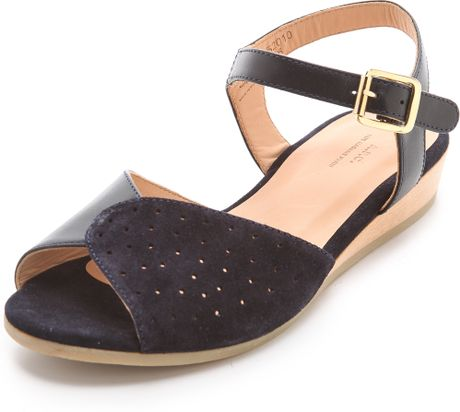 A P C Demi Wedge Sandals In Black Navy Lyst