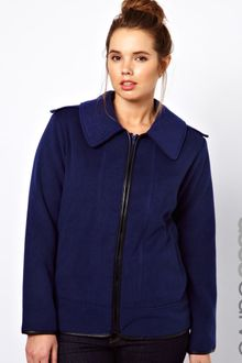 Asos Curve Exclusive Coat with Leather Look Trim - Lyst