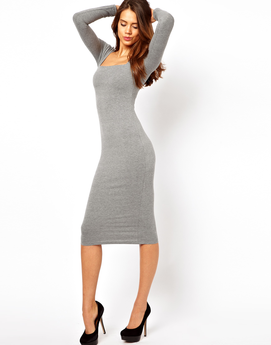639a1b1d21 Lyst - ASOS Midi Bodycon Dress with Square Neck and Long Sleeves in Gray