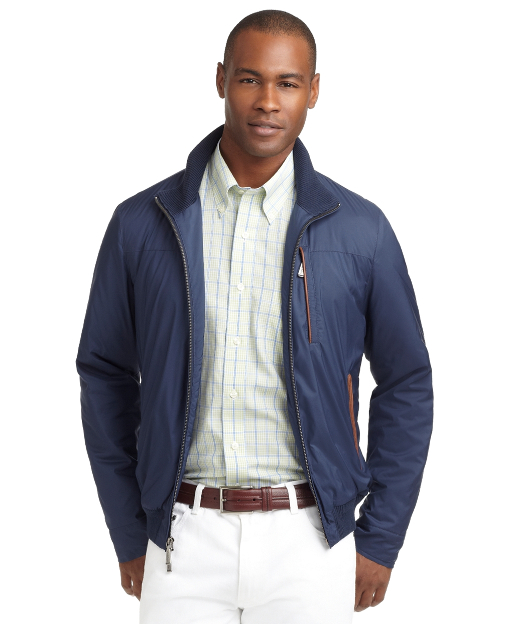 9984f797b Brooks Brothers Blue Knit Tipped Bomber Jacket for men