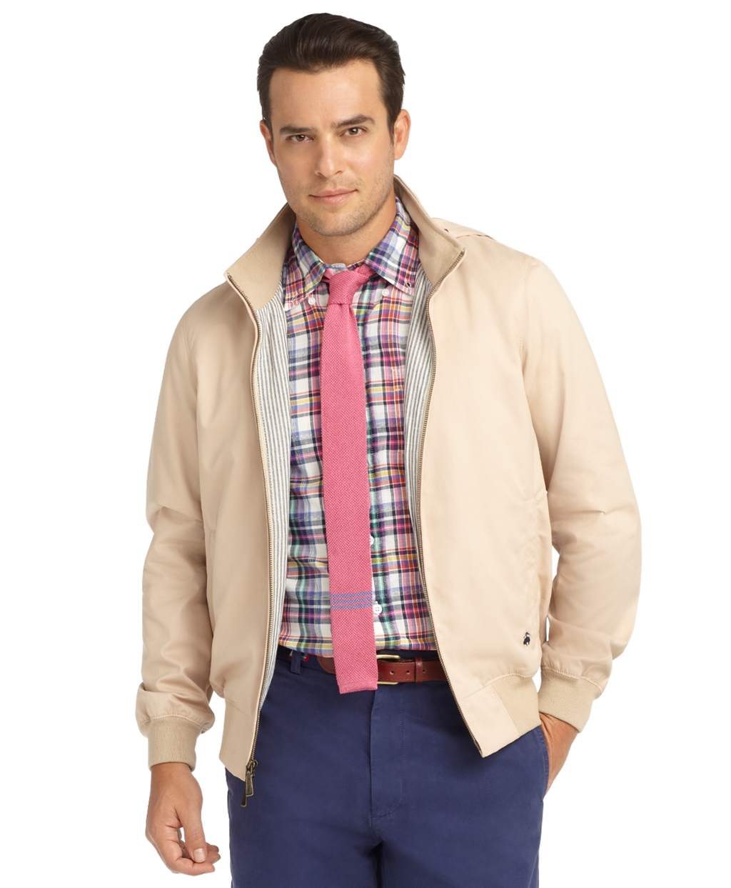 Brooks Brothers Cotton Bomber Jacket In Khaki Natural