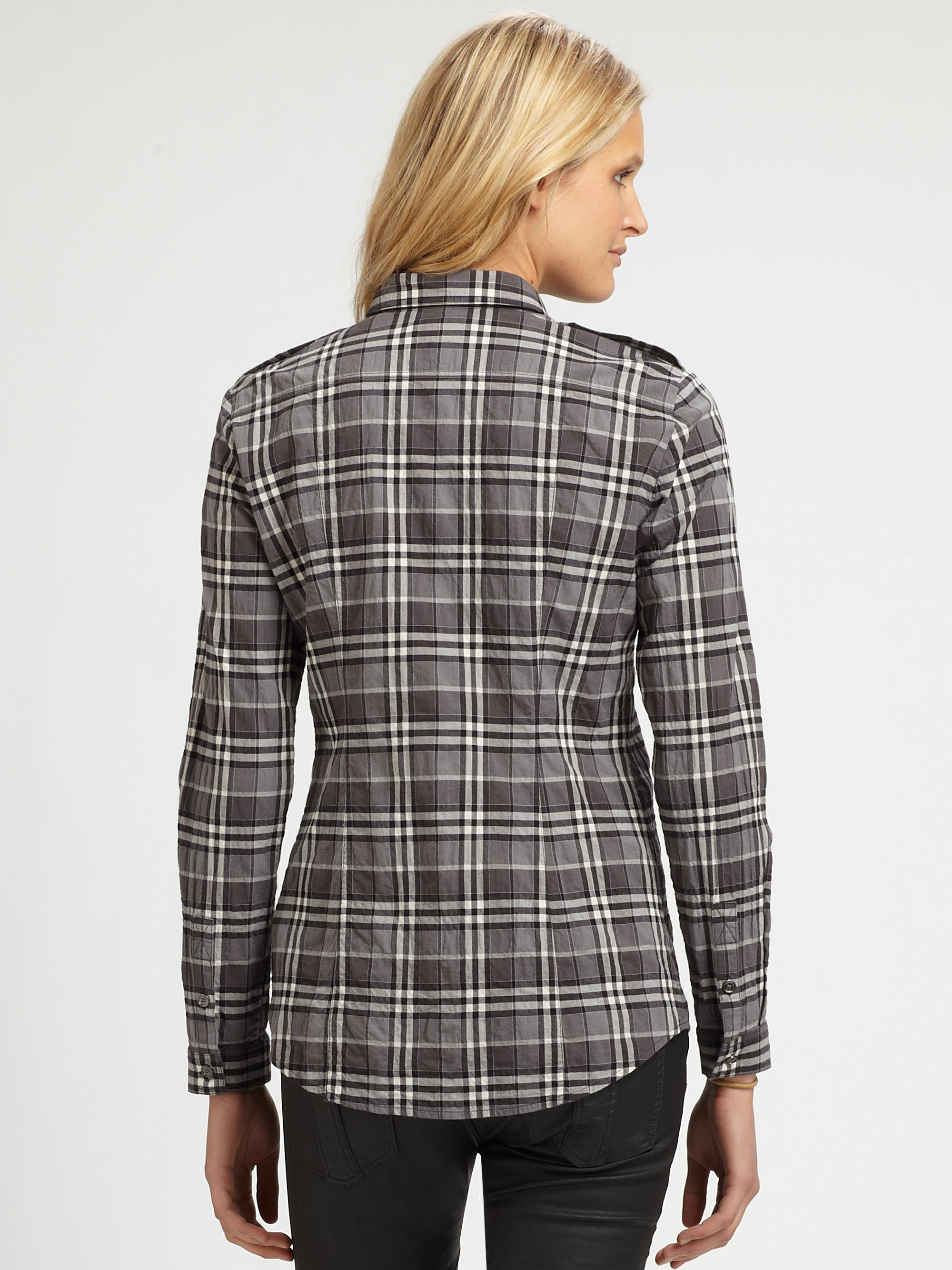 Burberry brit plaid button down shirt in gray charcoal for Burberry brit checked shirt