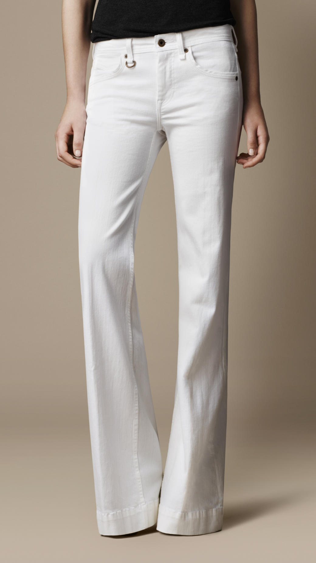 Burberry Flare Fit Jeans in White