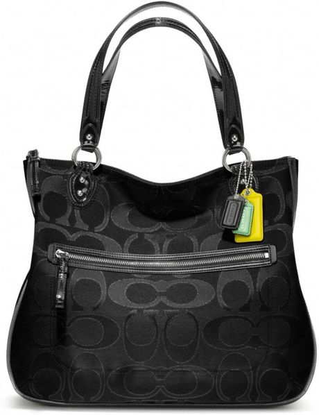 Coach Poppy Signature Metallic Outline Hallie Tote in Black (silver/black/black)