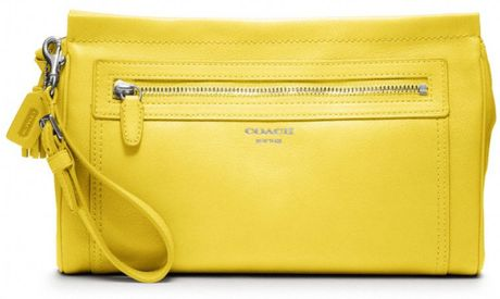 Coach Legacy Leather Large Clutch in Yellow (sv/lemon) - Lyst