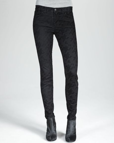 J Brand 811 Skinny Flocked Jeans in Green (black sweater)
