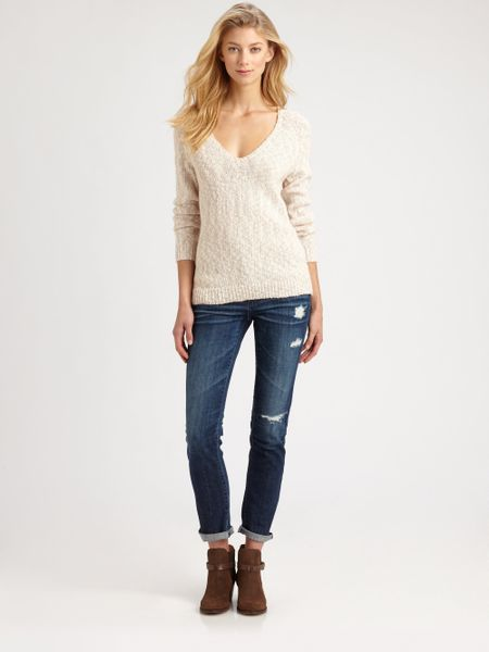 Joie Aleyda Slub Knit Sweater in White (mushroom)