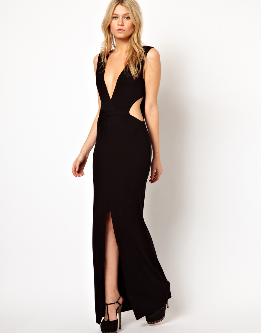 Love black plunge neck jersey maxi dress