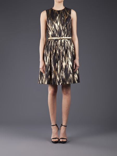 Michael Kors Sleeveless Metallic Dress In Gold Black Lyst