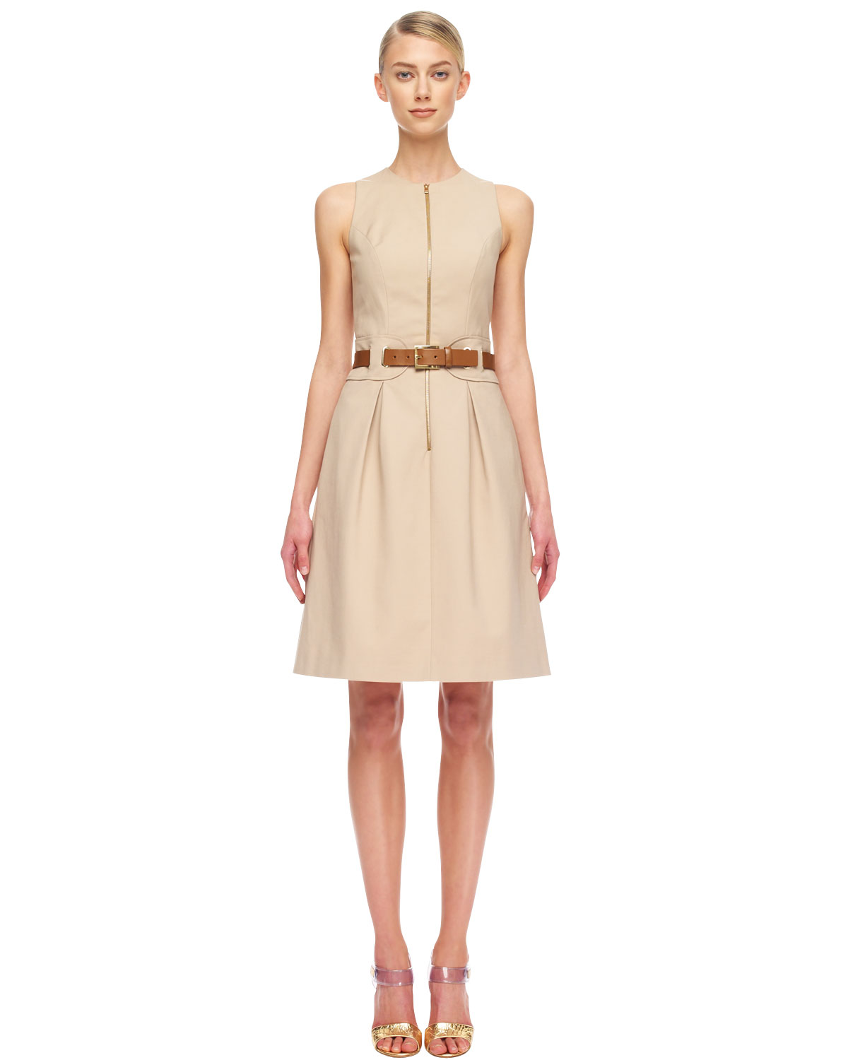 416396dcf68 Michael Kors Belted Twill Dress in Natural - Lyst