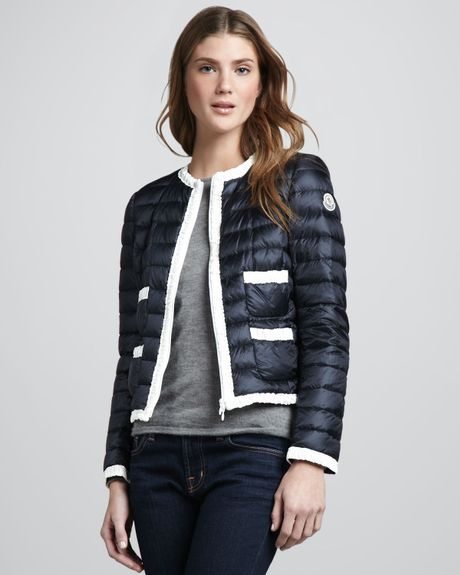 Moncler Flavienne Contrast Puffer Coat In Blue Navy Lyst