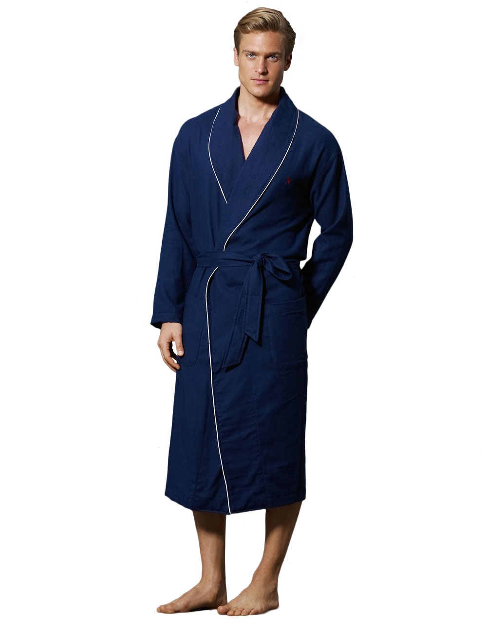 polo ralph lauren belted plaid cotton robe in blue for men navy lyst. Black Bedroom Furniture Sets. Home Design Ideas