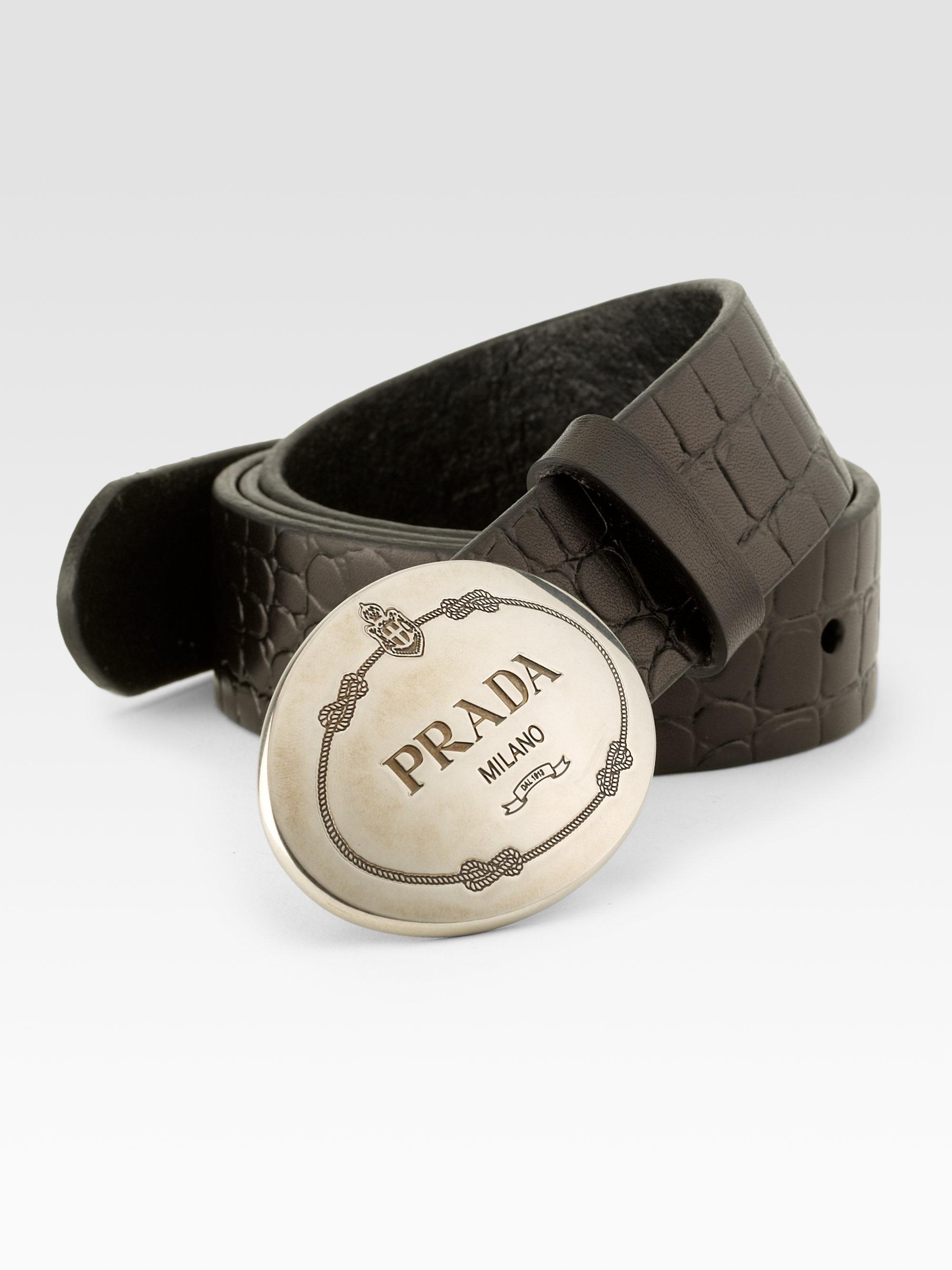 Prada Leather Cinture Belt in Black for Men   Lyst