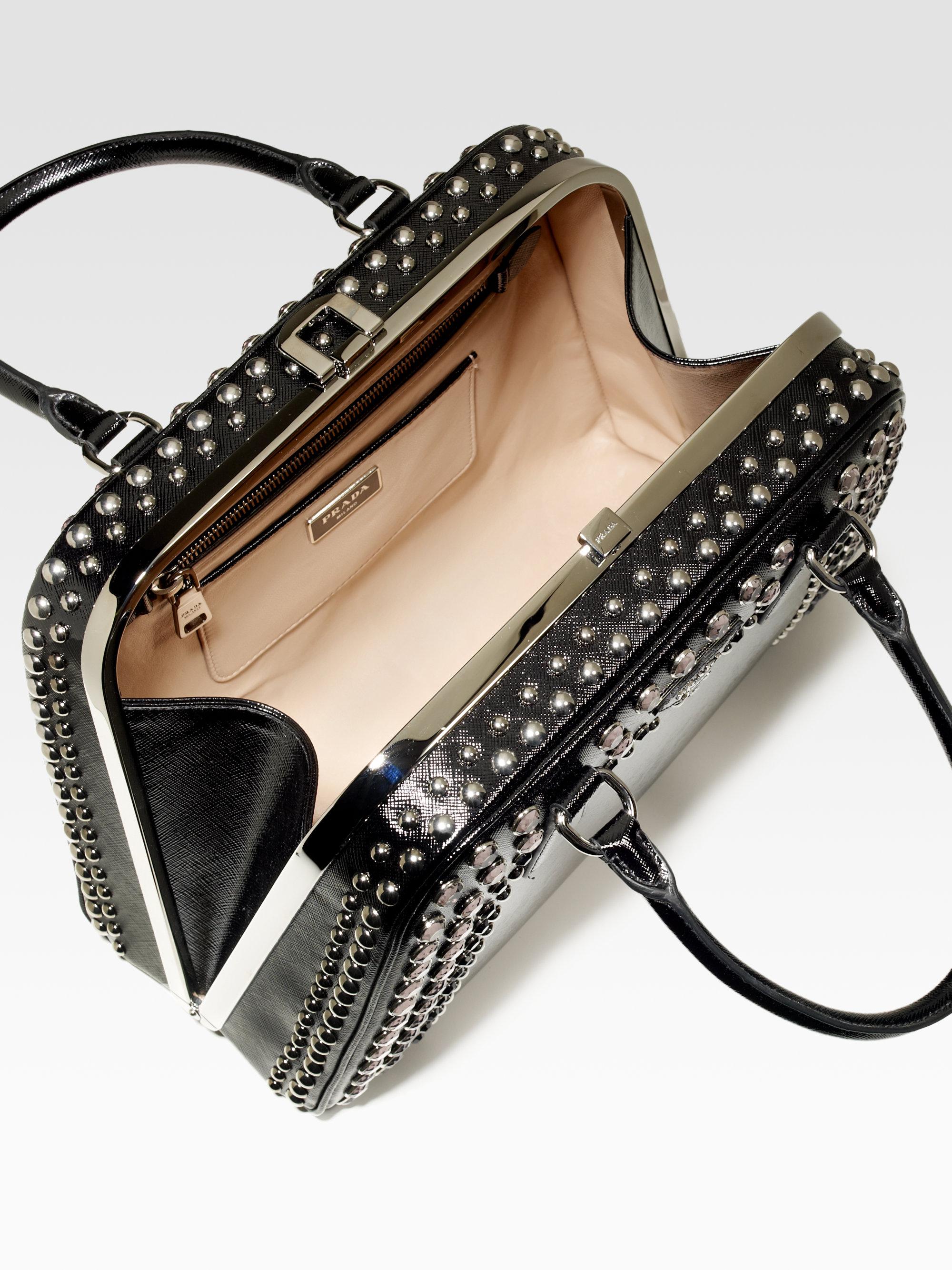 Prada Embellished Frame Top Handle Bag in Black | Lyst