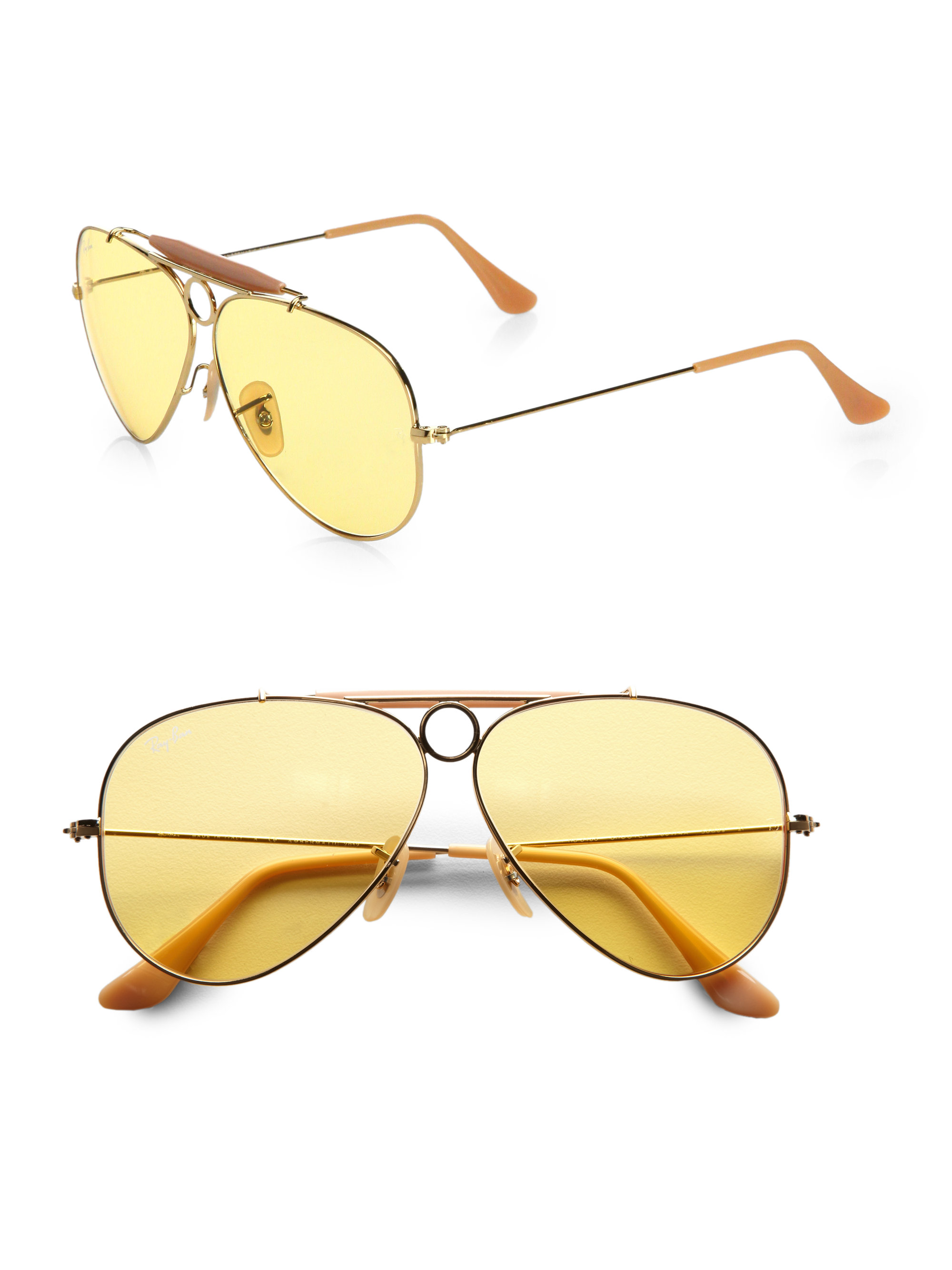 8d0774f2fa8a0 ... sweden lyst ray ban ambermatic shooter aviator sunglasses in metallic  62009 dd51b