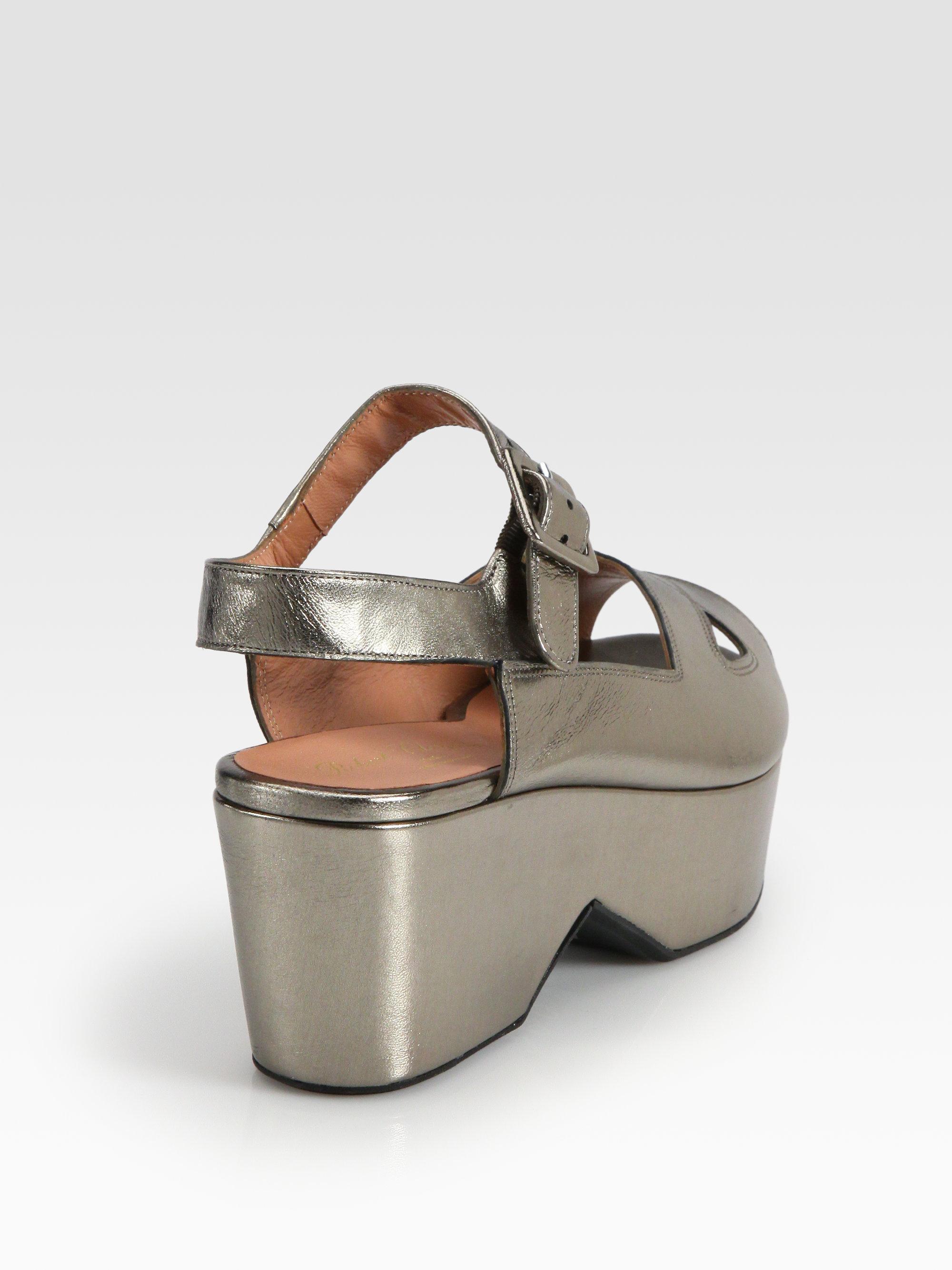 shopping online sale online Robert Clergerie Metallic Wedge Sandals Cheapest online u08CIqRhh5