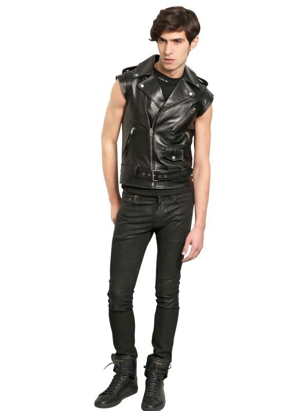 Lyst Saint Laurent Leather Sleeveless Biker Jacket In
