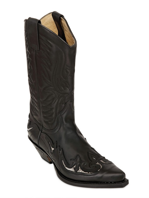Sendra Coated Leather Cowboy Boots in Black
