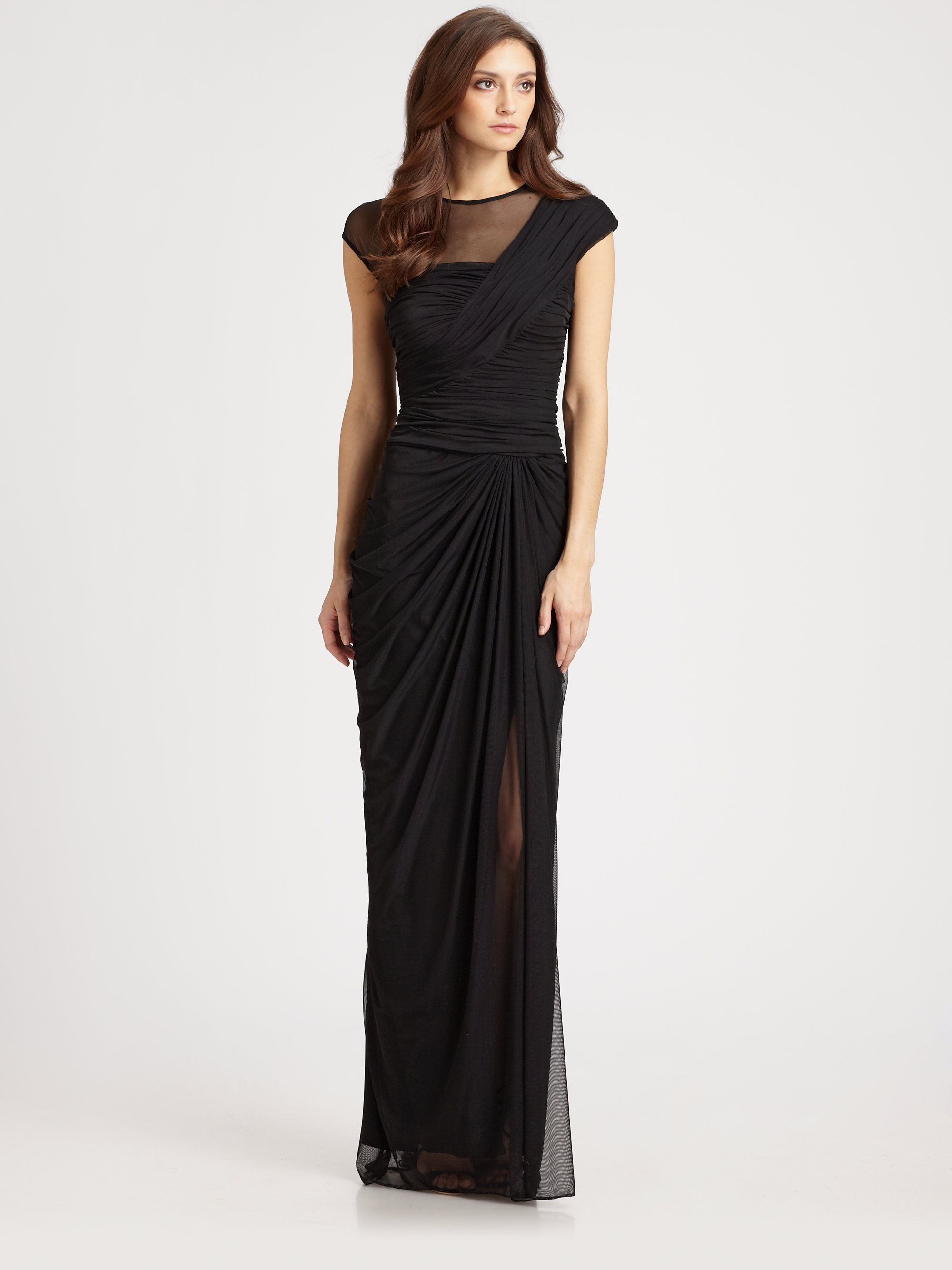Lyst - Tadashi Shoji Illusion Gown in Black