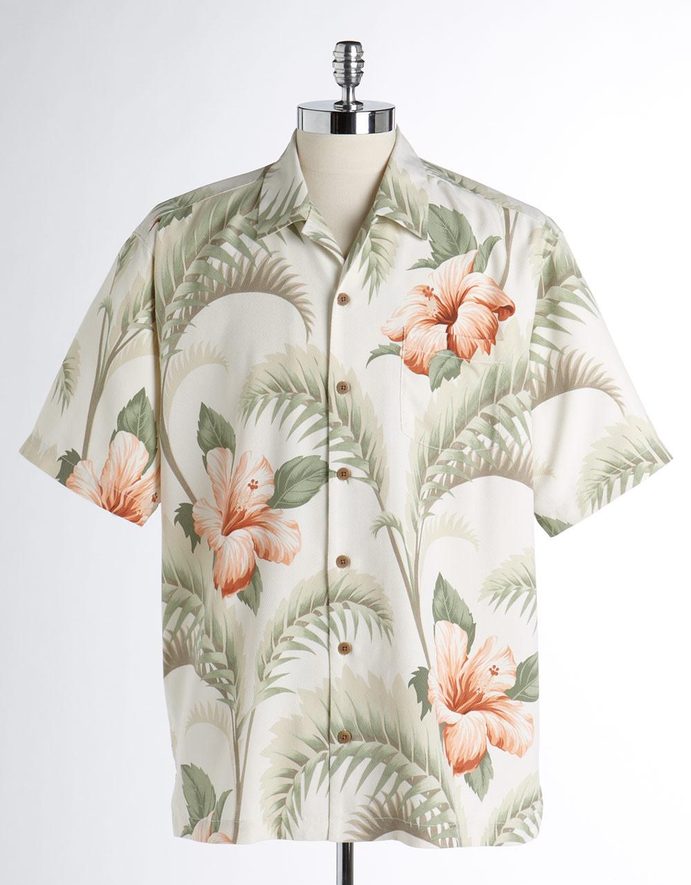 Tommy Bahama Hawaiian Print Shortsleeved Silk Shirt In