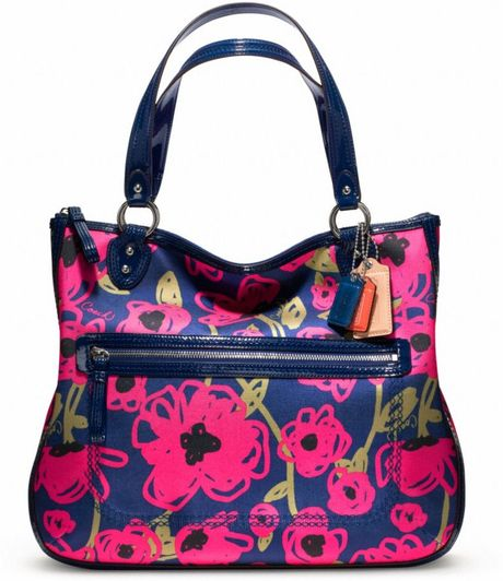 Coach Poppy Floral Print Hallie Tote in Blue (silver/navy multi)