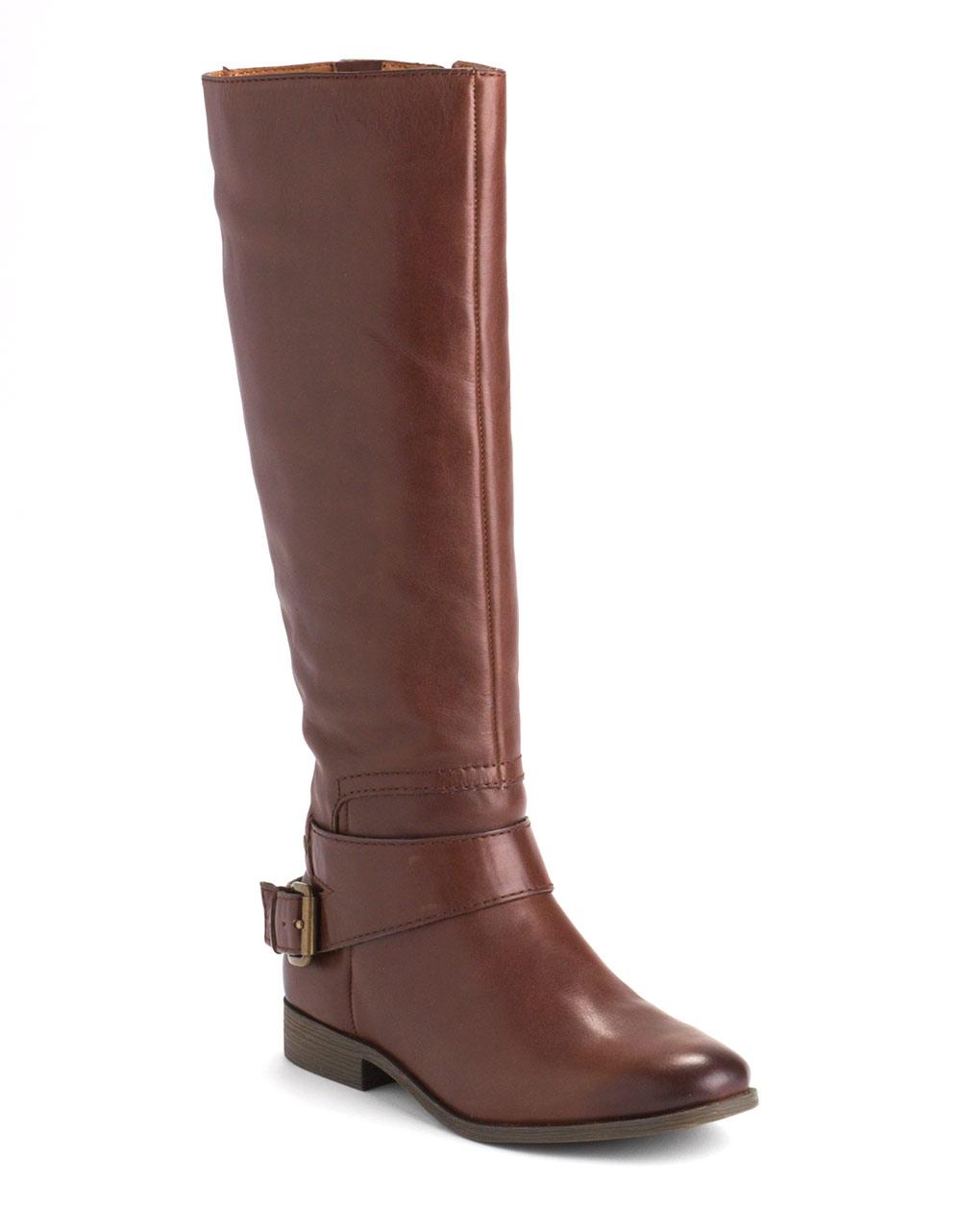 nine west tiptop leather boots in brown cognac