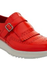 Prada Apron Toe Kilty Monk On Wedge Sole