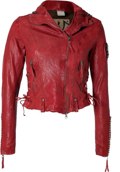 true religion red laced leather jacket in red lyst. Black Bedroom Furniture Sets. Home Design Ideas