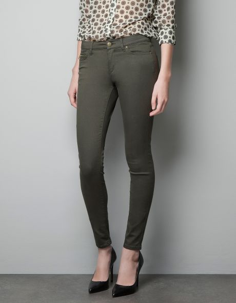 Zara Skinny Pants in Khaki (dark khaki)