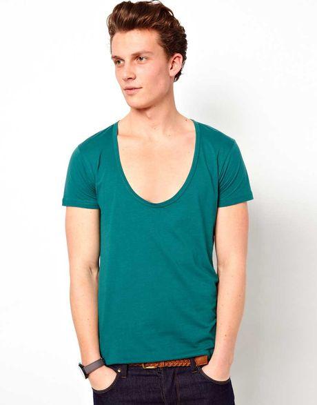 Asos deep scoop neck t shirt in green for men pacificblue for Deep scoop neck t shirt