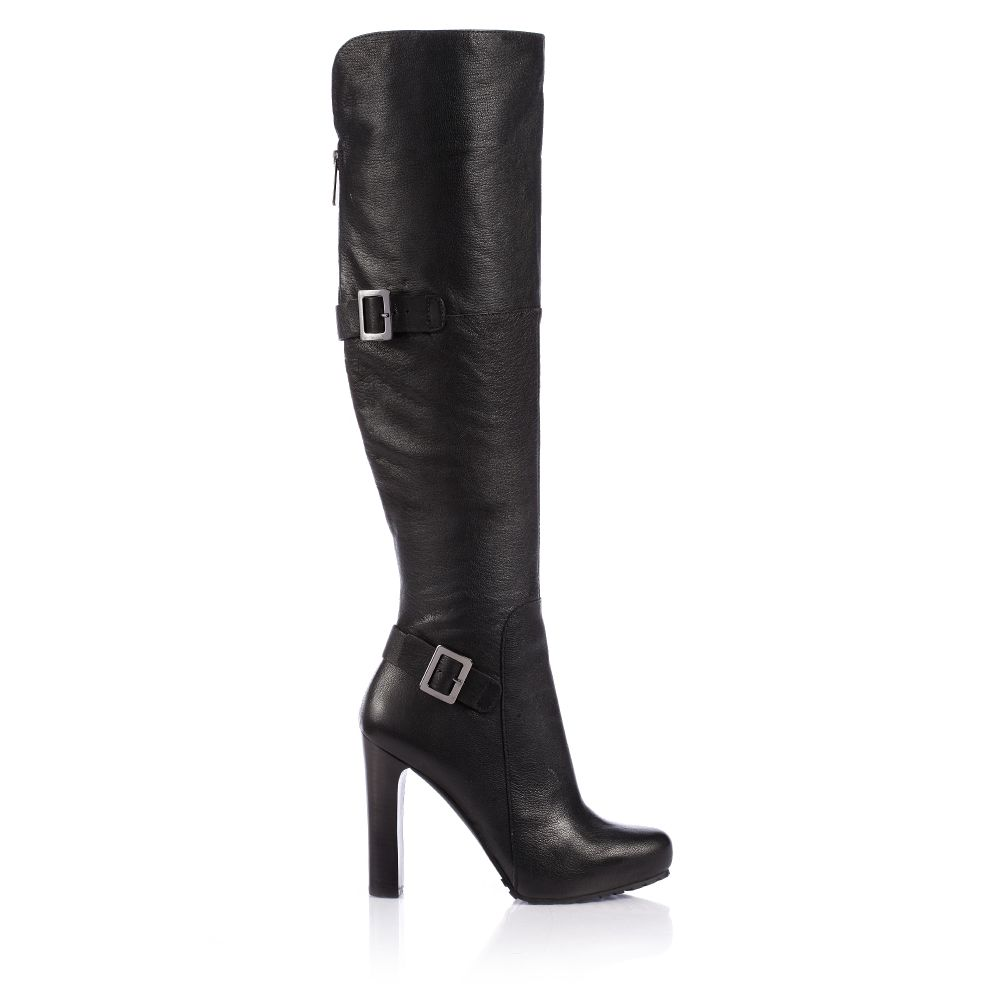 shoeniverse guess oliviera black buckle knee high boots
