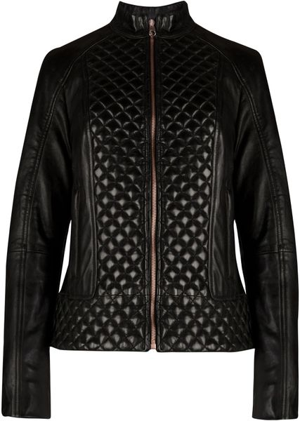 Ted Baker Nyssie Quilted Leather Jacket In Black Lyst