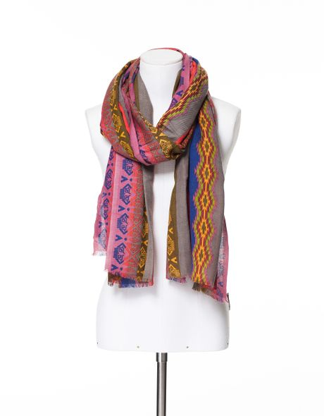 zara ethnic print scarf in multicolor only one lyst