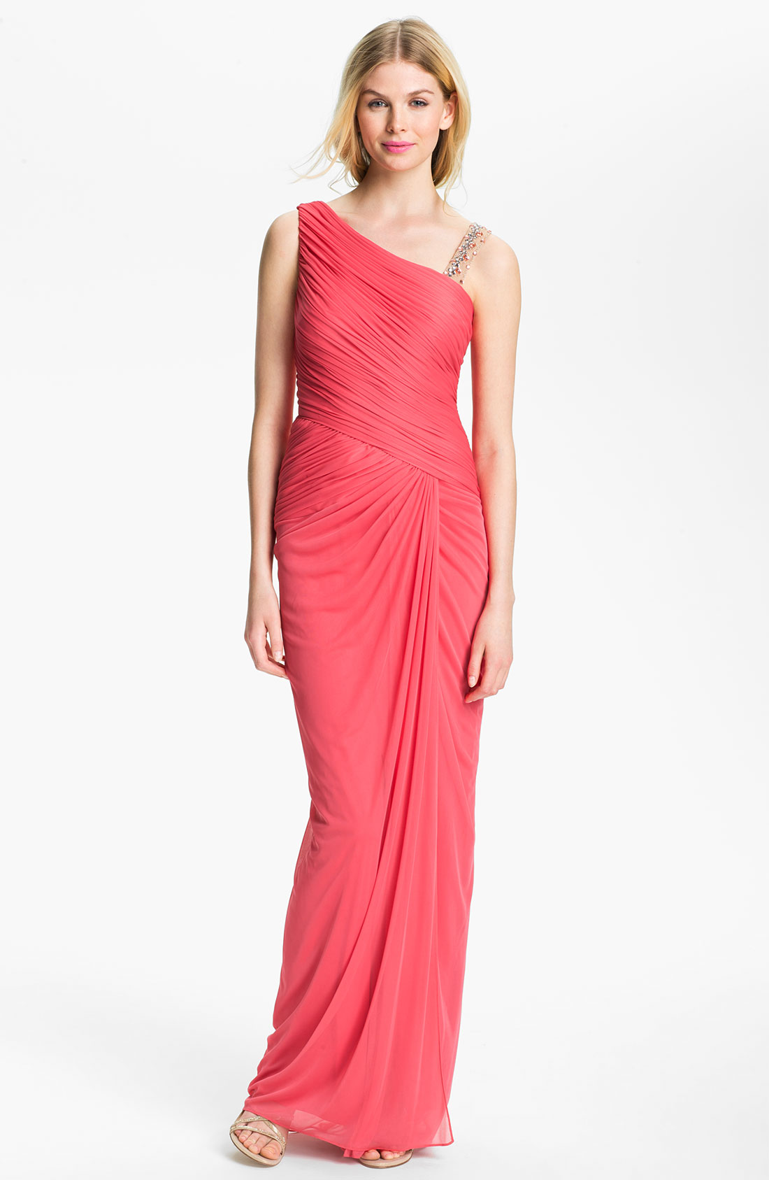 ADRIANNA PAPELL Embellished Mesh Gown SHRIMP Size 10 #412 | eBay