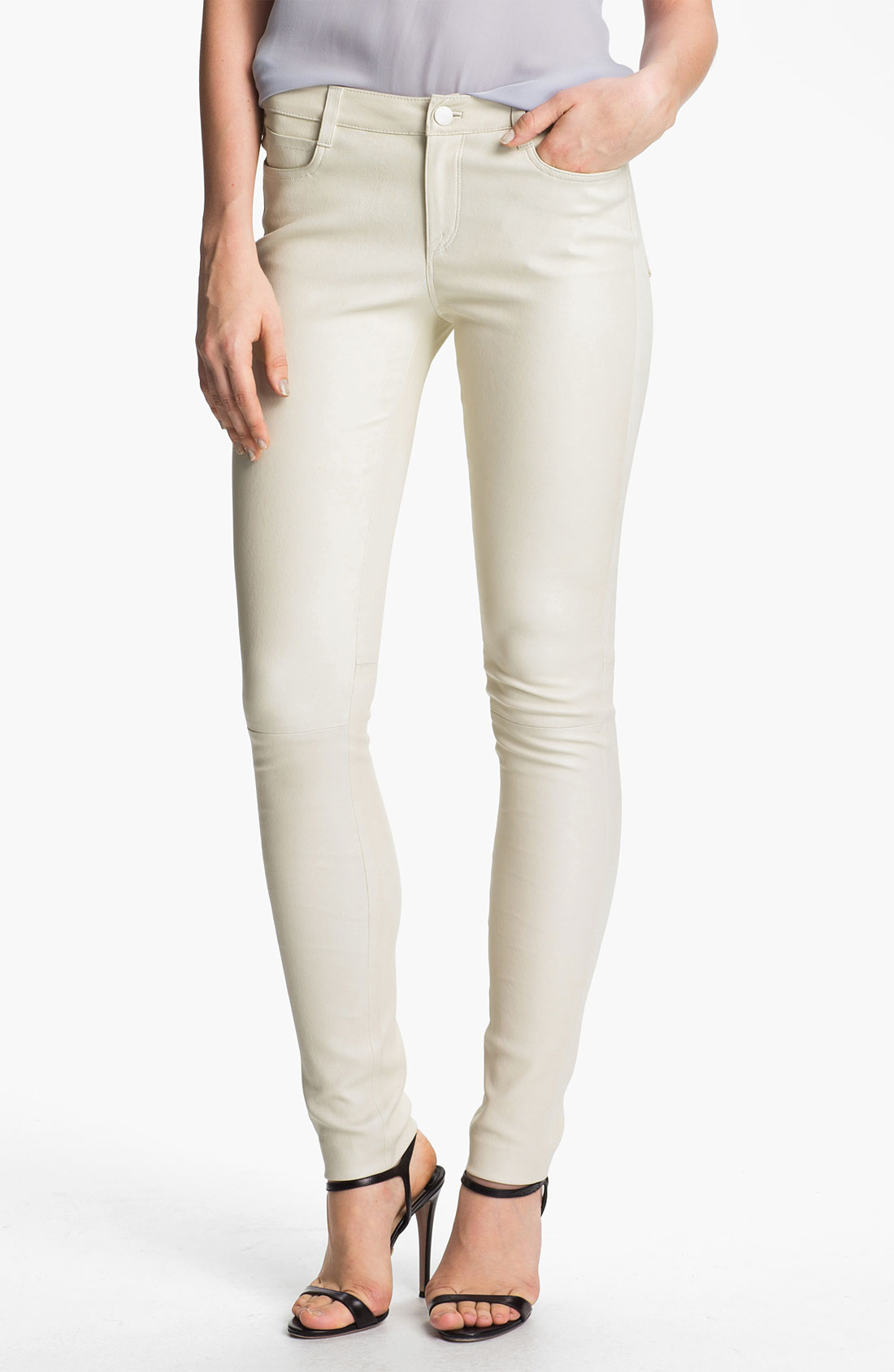 Model Buy Dazzling White Baggy Leather Pant For Women Online