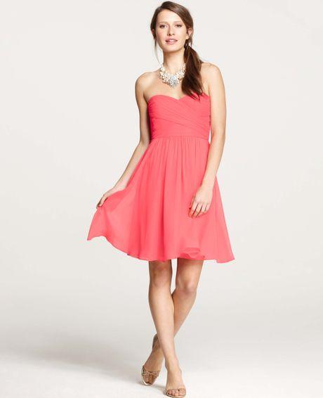 Ann taylor silk georgette sweetheart strapless dress in for Silk georgette wedding dress